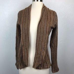 Anthro Wooden Ships Brown Striped Sweater Cardigan